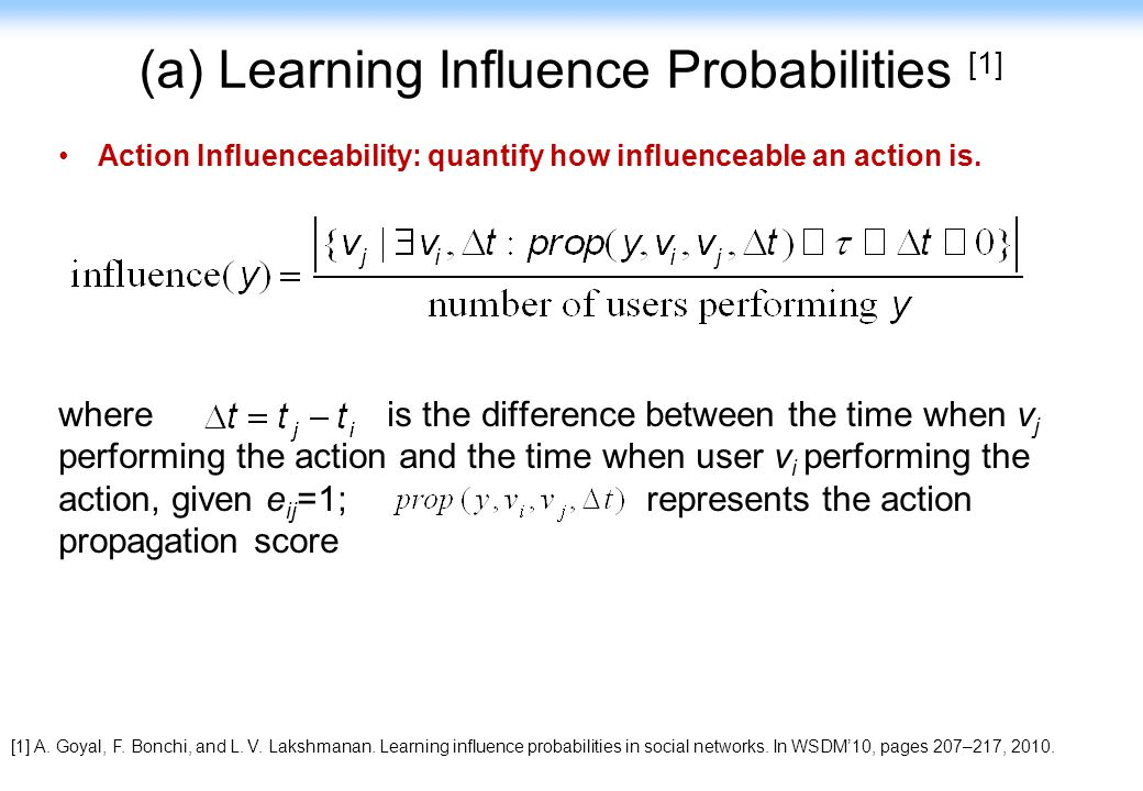 (a) Learning Influence Probabilities [1]